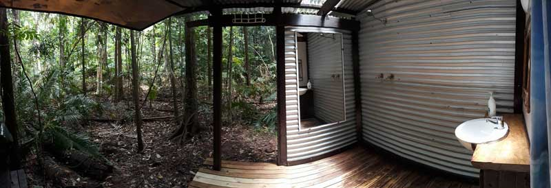 open air bathroom of the Daintree Jungle Hut